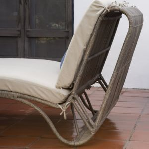 Well Furnir T-075 Steel Frame Sun Bed Double Chaise Lounge with Cushion pictures & photos