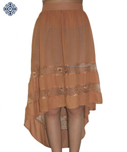 Ladies High Low Skirt of Chiffon and Lace (LDS-13)