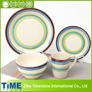 Fresh Color Stripped Stoneware Ceramic Dinner Set (TM0510) pictures & photos