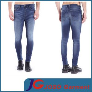 Men Summer MID Blue Distressed Wash Jogged Skinny Jeans ((JC3328) pictures & photos