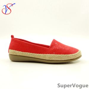 Three Color Lady Women Soft Comfort Flat Shoes with Flax Sv17flats-03red pictures & photos