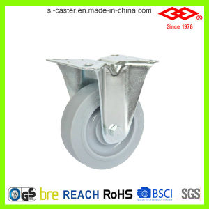 3 Inch Fixed Plate Rubber Wheel Caster (D120-34FK075X32) pictures & photos