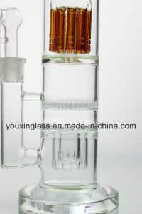 14.6′′ New Style Glass Smoking Pipe with Brown Arm Tree and Double Layer Percolator   and Honeycomb pictures & photos