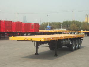40ft Flatbed Semi-Trailer with Single Tyres (ZJV9420TJZP) pictures & photos