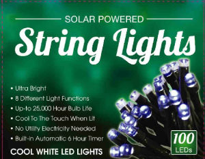 Solar Holiday & Party String Lights