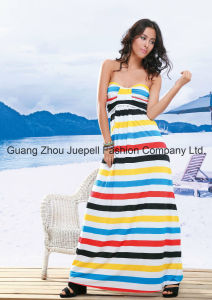 Muti Stripe Strapless Maxi Dress pictures & photos
