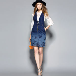 Blue Cotton Women Dress with Long Sleeve pictures & photos