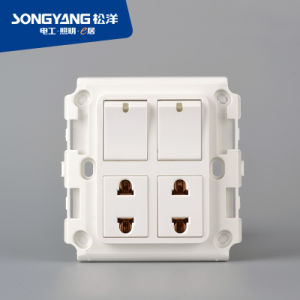 2gang+2socket Socket Switch for House pictures & photos