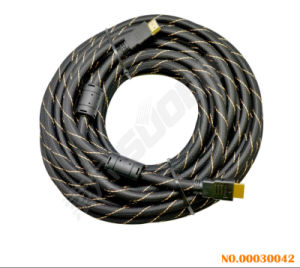 Suoer HDMI to HDMI Double Loop AV Cable (15M Braied Wire) pictures & photos