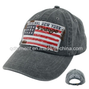 Washed Pigment Dyed Print Applique Embroidery Baseball Cap (TMB0730) pictures & photos