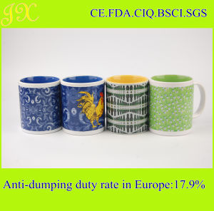 High Quality 11oz Color Glazed Ceramic Coffee Cup with Printing