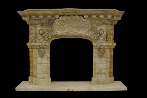 Limestone Flower Carving Fireplace (FRP341) pictures & photos