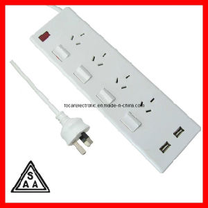 SAA Australia 4 Outlet Power Strip with Individual Switches, Power Board Surge Protected and 2.1A USB Charger Ports (FC-16106) pictures & photos