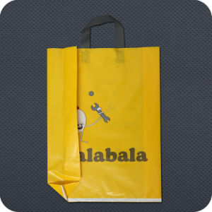 Printed Carry Plastic PE Shopping Bag with Soft Loop Handle pictures & photos
