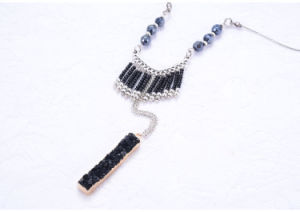 European and American Long Beaded Tassel Sweater Necklace Long Black Ore Pendant Jewelry pictures & photos