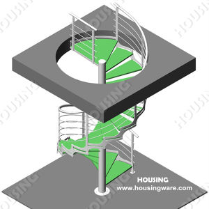 Indoor Residential Metal Spiral Staircase Design