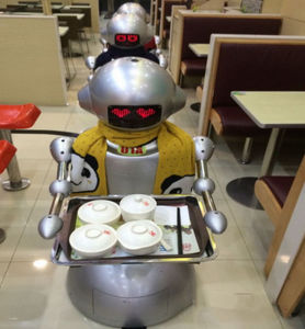 Robot Works in Eatery Instead of Waiter/Humanoid Bot Delivery Food pictures & photos