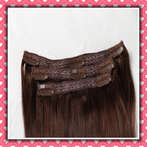 Quality Brazilian Clip-on Human Hair Extensions Silky 16inches pictures & photos