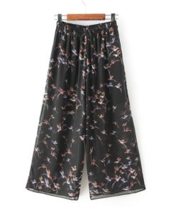 OEM High Quality Plus Size Printed Wide Leg Women Trousers pictures & photos