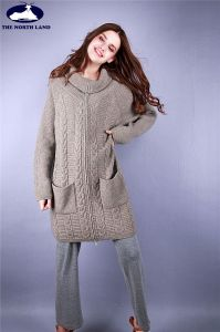 Cashmere Loose Neck Cable Cardigna with Zipper & Pockets pictures & photos