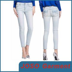China Women Denim Light Blue Jeans (JC1053) - China Light Blue ...