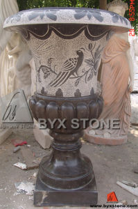 Carved Bird Stone Flower Pot for Outdoor Garden Decoration pictures & photos