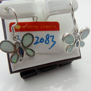925 Sterling Silver Butterfly Shape Opal Drop Earrings (ESB2121)