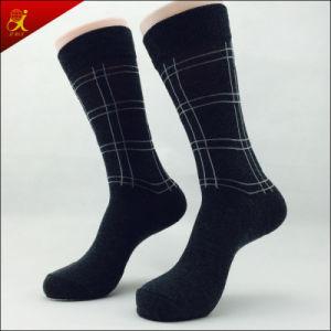 Men Black Cotton Sock with Jacquard Design
