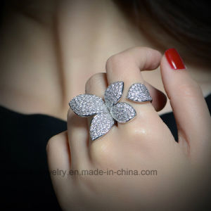 Adjustable Copper Cubic Zircon Double Fingers Fashion Jewelry Ring pictures & photos