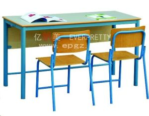High Quality Elementary School Double Desk and Chair, Wooden Student Desk and Chair pictures & photos