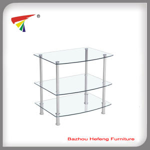 Simple Design Tempered Glass Clear TV Stand, TV Table pictures & photos