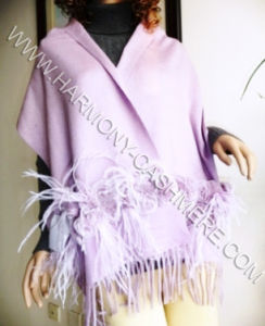 Cashmere Shawl with Rex Rabbit Trim and Ostrich Feather pictures & photos
