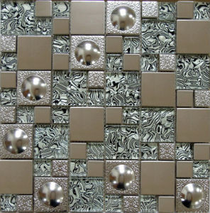 Glass Mosaic Wall Tile, Stainless Steel Metal Mosaic (SM254) pictures & photos