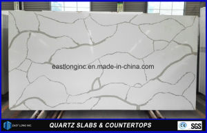 White Calacatta Artificial Quartz Stone Slab for Kitchen Countertop pictures & photos
