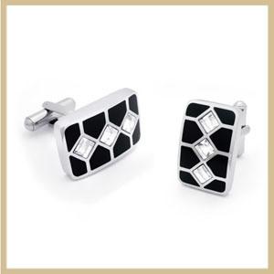 Stainless Steel Cufflink With CZ Stone (TPCMK108)