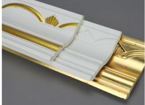 Golden Decorative Polyurethane Crown Moulding Belt Line Hand Painted pictures & photos