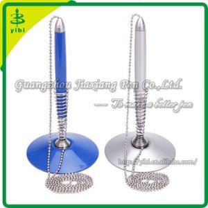 Blue Plastic Table Pen/Blue Plastic Counter Pen/Blue Plastic Desk Pen Attached to a Stretch Coil Holder