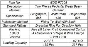 Weidansi Ceramic Wash Pedestal Basin Wash Sink (WDS-P7208) pictures & photos