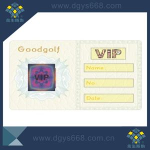 Security Anti-Fake Watermark VIP Cards or Ticket with Hologram Sticker pictures & photos