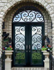 Modern Style Hand Forged Iron Double Door (UID-D067) pictures & photos