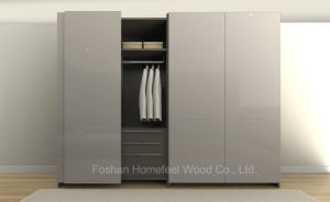UV High Gloss 2 Doors Flush Sliding Door Wardrobe (HF-FS01) pictures & photos