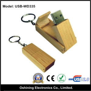 Folding Wood USB Flash Memory Drive with Keychain (USB-WD335)