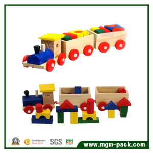 Educational Solid Wooden Train with 3 Carriages and Building Blocks pictures & photos