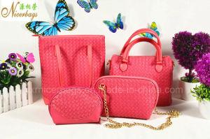 Women Handbag Woven PU Shoulder Bag Wallet 4 PCS Set pictures & photos