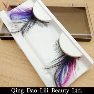Colorful Purple Long Feather Costume Party Eyelashes Black Drag Feather False Eyelashes pictures & photos