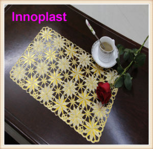 PVC Lace Placemat / Crochet Doilies with Gold Coated (JFCD-096) pictures & photos