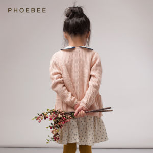 Phoebee Cotton Knitting/Knitted Spring/Autumn Cardigan Sweater for Girl pictures & photos