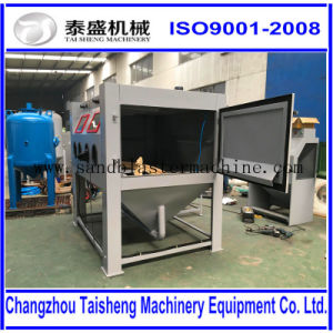 Cart and turntable sand blasting cabinet for tooling