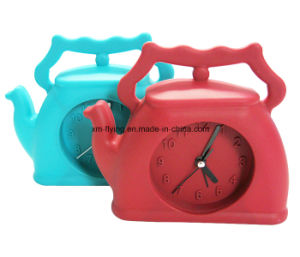 Creative Lovely Bag Shape Logo Printed Silicone Mini Table Alarm Clock pictures & photos