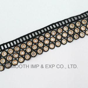 Black Fashion Metal Cotton Eyelet Lace Trim Tape Clothes Accessories pictures & photos